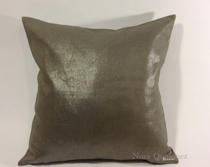 Metallic Linen Decorative Pillow Cover - Medium Weight Linen- Invisible Zipper Closure- Bolster Pillow Or Square