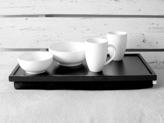 Wide Laptop Lap Desk or Breakfast serving Tray - Black clasic- L or XL size