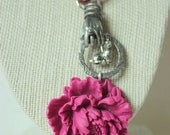 "Peony Flower Silver Rabbit  Necklace ""The Hand of The Gypsy"""