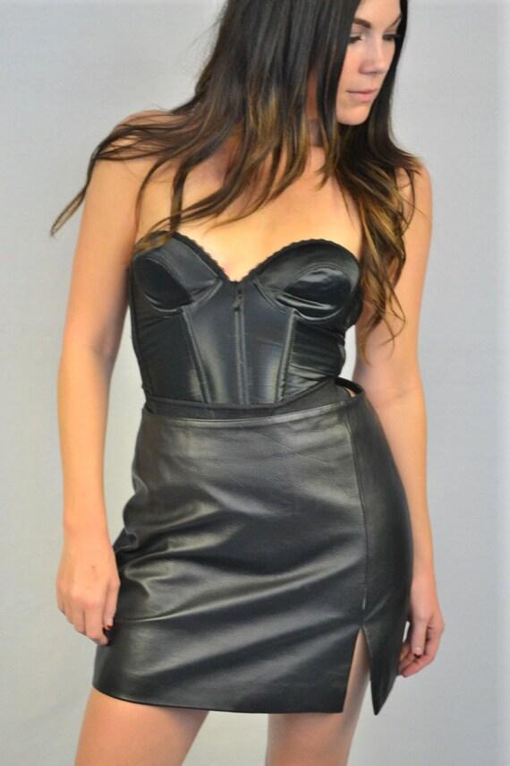 Vintage WILSONS Black Leather Skirt