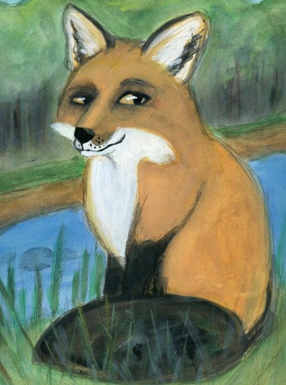 Fox Art Print, Woodland Animal illustration, Frankie: The Sly Little Red Fox, (6x8) Nursery Wall Art