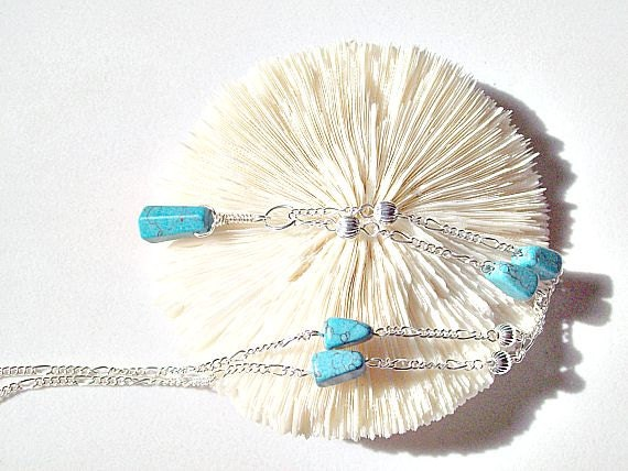 Turquoise Necklace Wire Wrapped Faceted Briolette  ID 147