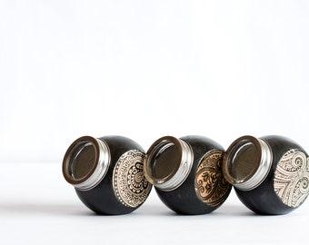 Spice Jars, Arabesque Swirls Brown Kitchen Set of 3, Victorian Beige Hostess gift, for her, under 50