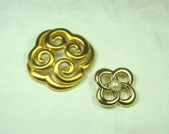Vintage LOVE KNOT BROOCH Gold Pin Jewelry Set/2 SiGNED Monet & Anne Klein