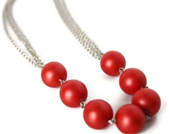 Red Statement Necklace - Chunky Red Necklace - Glass Pearl Necklace - Red Bead Necklace - Chunky Bead Necklace - Chain Necklace - Rockabilly