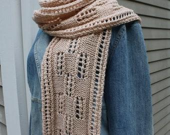 Knitted Scarf, worsted weight, written and charted PDF format