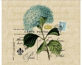 Paris postcard blue hortensia flower crown fleur de lis instant Digital download for Iron on fabric transfer burlap decoupage pillow No. 479