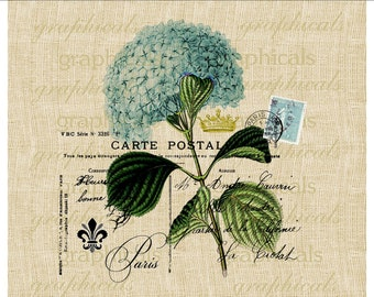 Paris postcard blue hortensia flower crown fleur de lis instant Digital download for Iron on fabric transfer burlap decoupage pillow No. 479