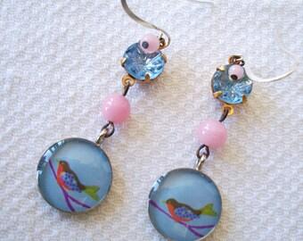 """HANDMADE GLASS Earrings - """"Flight of Fancy"""" - Vintage Pink + Blue Glass & Rhinestones, Newer Bird Dangles, OOAK Bohemian, Retro Jewelry"""