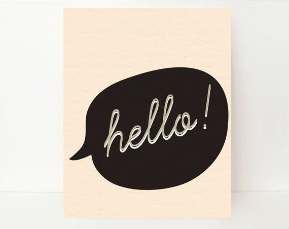 Hello Art - Hello Poster - Typographic Print - Typographic Poster - Typography Wall Art - Office Decor - Minimalist Decor - Dorm Room Decor