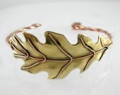 Copper & Brass Oak Leaf Bracelet, Artisan Mixed Metal, Fall Autumn Fashion Jewelry