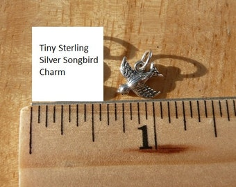 Songbird charm - Sterling silver