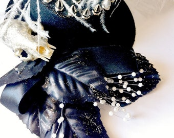 SALE taxidermy skull top hat, black with spikes, ruffle trim, and ostrich feather - TEA PARTY