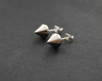 WAR SPIKES: Silver Spike Stud Earrings