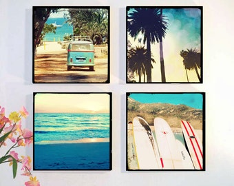 Surf Art Photography Set, Surfing Wall Art, Retro Beach Wall Art, Wood Block, Beach Decor, Palm Tree Surfboard VW Bus, Boys Room, Gift Idea