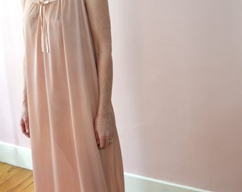 Long Sleeveless Chemise Nightgown with Embroidered Yoke Vintage Lingerie 1970's Dead Stock   - VL159