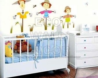 PEEL and STICK Kids Nursery Removable Vinyl Wall Sticker Mural Decal Art - Halloween Scarescrow