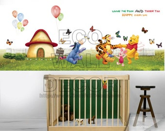 PEEL and STICK Kids Nursery Removable Vinyl Wall Sticker Mural Decal Art - Winnie the Pooh and Friends Hand to Hand Game