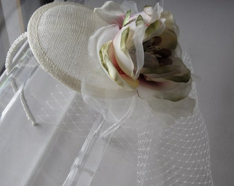 Ivory Silk Flower Sinamay Fascinator Hat with Veil and Pearl Beaded Headband, for bridesmaids, weddings, parties, special occasions