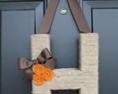 The Original Handmade Jute Monogram Wreath. Twine Letter.  Jute door hanging.  Letter Wreath. Jute Letter. Initial Wreath