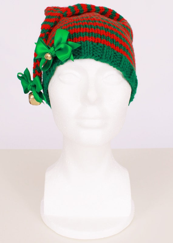 READY TO SHIP: Crochet Elf Hat - Red & Green - Elf Costume Hat - North Pole Pixie - 12 Month Toddler Girl - Cutie Patootie Designz
