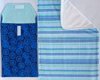 Stripes of Blue Changing Pouch Set includes: Changing Pad & Pouch