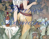 Antique French Wine Advertisement Digital Download Sweet Sultry Girl Art Deco Photograph Photo Ad ATC Aceo 300dpi Print 36P
