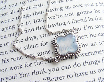 Mother of Pearl Clover Bracelet. Sterling Silver Satellite Chain. Bridesmaid Gift. Simple Modern Jewelry