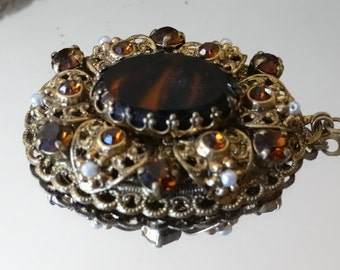 Vintage Western Germany Caramel brown Tortoise Stone Amber Topaz Rhinestone Filigree Long necklace pendant