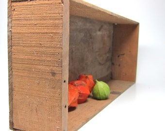 Vintage Wood Crate Rustic Long Tray Shabby Wood Box