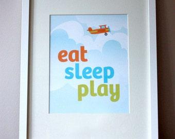 Eat, Sleep, Play - nursery art print poster for baby or kids room - 8 x 10