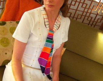 1960s 1970s White Dress with Rainbow Stripe Scarf // Semon Frelich // S