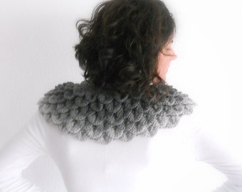 Shades of gray capelet,  Gray neckwarmer,  women accessories, gift ideas, christmas gifs