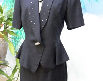 80's Short Sleeve Summer 2 Piece Black Linen Suit, AB Rhinestone Lapels, by Bicci, Womens, Professional, Preppy