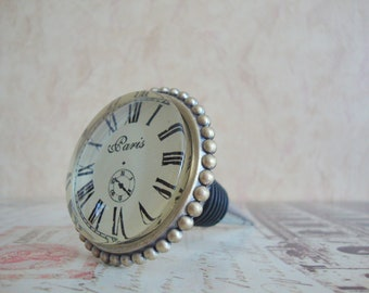 Wine Bottle Stopper - Large Paris Clock Wine Stopper