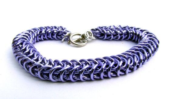 Chain Maille Bracelet, Purple Bracelet, Lavender Box Chain Bracelet, Purple Jump Ring Bracelet