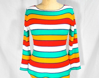 vintage 1970s striped sweater / size small