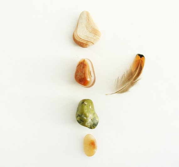 Stone Magnets - Warm Hue Themed - Set of Four - Home Decor - Natural - Tribal
