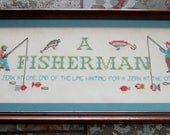 Vintage Cross Stitch 'Fisherman' Theme - Professional Original Frame - New York