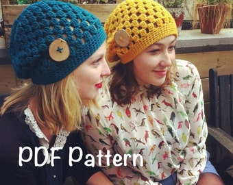PATTERN:  Decatur Street Hat, easy crochet PDF, slouch beanie, adult, teen, fall winter autumn, InStAnT DoWnLoad, Permission to Sell