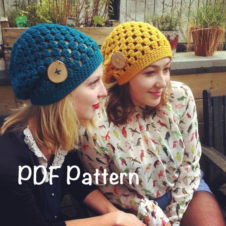 Crochet Hat Pattern Teenager : PATTERN: Decatur Street Hat easy crochet PDF slouch beanie