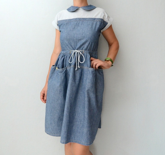 Vintage blue denim dress with peter pan collar