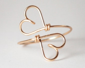 2 HEARTS - Together forever, 14K Goldfilled Wire, Symbol Wire Ring, Friendship Ring