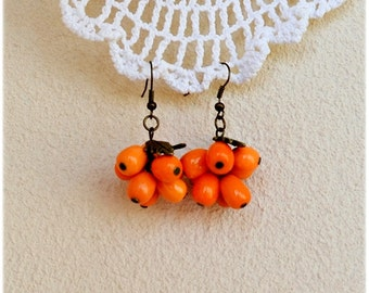 Earrings Orange Sea Buckthorn berries Dangle Earrings