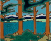 Mountain Lake, Trees, Hot Plate, Wall Decor, Installation,Hand Painted, mosaic, kitchen backsplash, bathroom mural, Lake Tahoe, Big Sur,