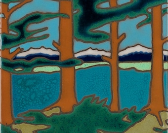 Mountain Lake, Trees, Hot Plate, Wall Decor, Installation,Hand Painted, mosaic, kitchen backsplash, bathroom mural, Lake Tahoe, Big Sur,