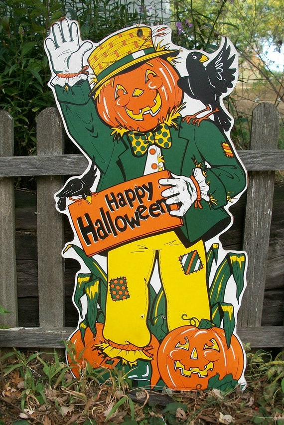Vintage Happy Halloween Scarecrow With a Jack O Lantern Head die cut on particle board Folk Art inside or outside