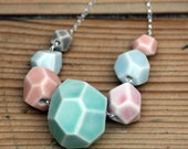 faceted stone necklace, 7 stones, handmade porcelain