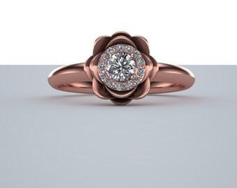 Lotus Diamond Halo Engagement Ring 14K Rose Gold