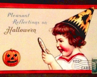 Vintage Halloween Image / Peel and Stick Label or Picture Plaque  / Primitive / Handmade in America